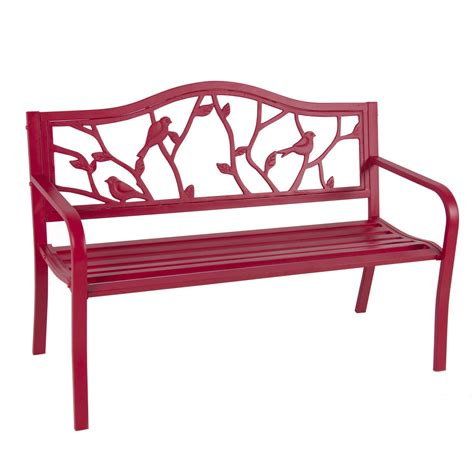 red patio bench rose red steel patio garden park bench outdoor living