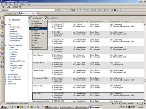address directory address and telephone directory software through lotus