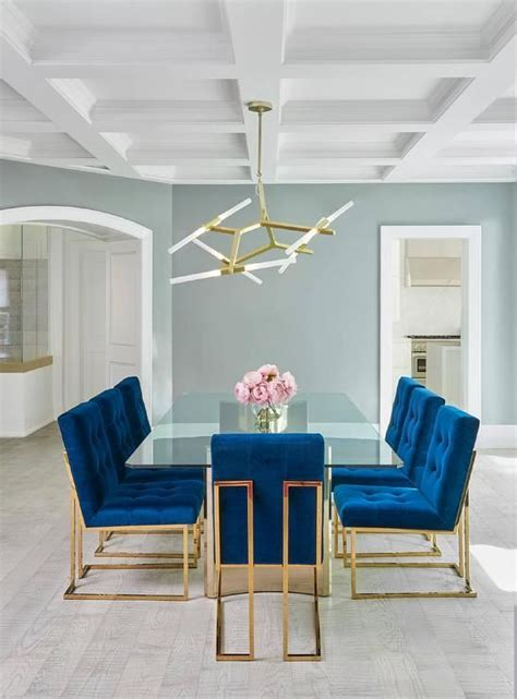 Jonathan Adler Dining Table Jonathan Adler Goldfinger Blue Velvet Dining Chairs Frame A Stunning Glass Dining Table