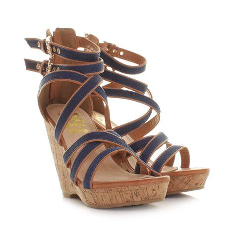 navy strappy sandals womens xti navy cork wedge heel strappy gladiator sandals