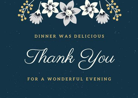 dinner thank you card template dinner thank you notes free thank you card wording