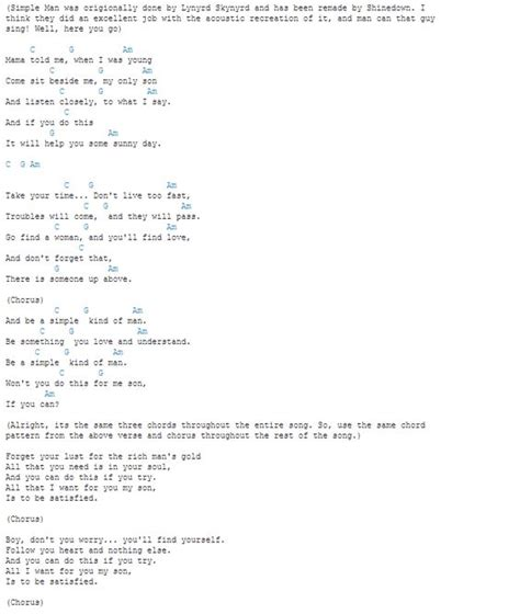 Strumming Pattern Simple Man Shinedown | simple man chords fun chords pinterest simple