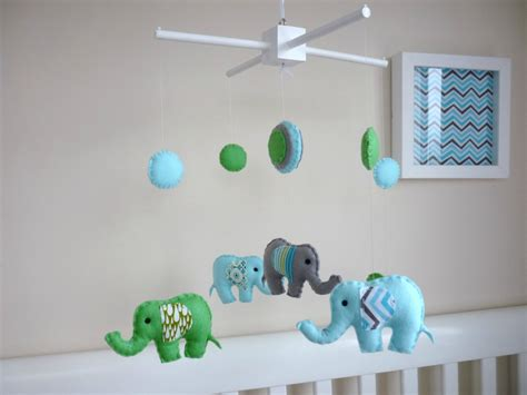 Baby Boy Crib Mobiles Baby Boy Elephant Mobile Felt Nursery Baby Mobile Baby Blue Apple Green And Grey Felt