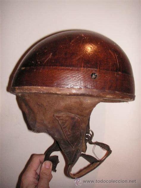 casco moto cuero antiguo casco moto en madera y cuero marca prat comprar