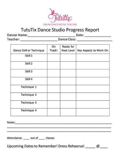 layout of a progress report the dance progress report how to share progress dancing