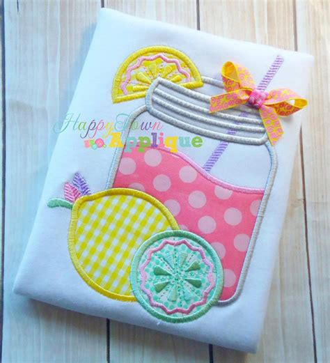 glass applique lemonade glass machine embroidery design by happytownapplique