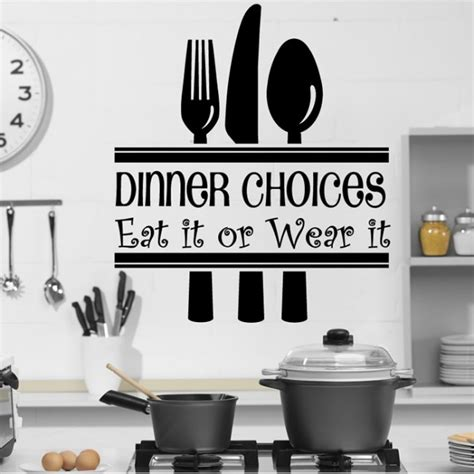 Kitchen Wall Decor Stickers dinner choices wall sticker funny kitchen quotes wall