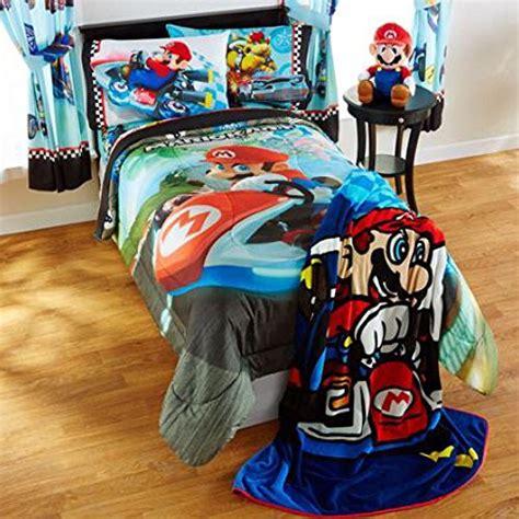 super mario bros mario kart reversible bedding comforter set  mario pillow buddy full