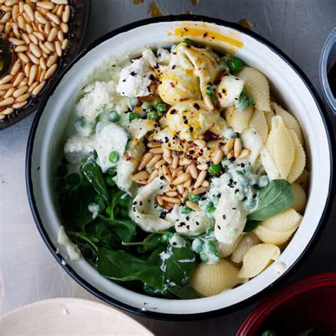 ottolenghi vegetarian pasta recipes conchiglie with yoghurt peas chilli