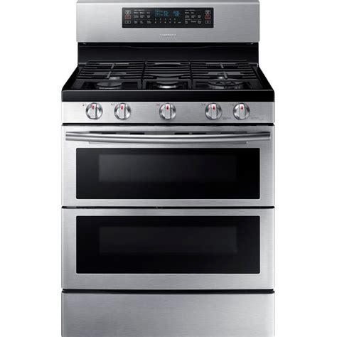 samsung 30 in 5 8 cu ft oven gas range with self cleaning convection oven in stainless