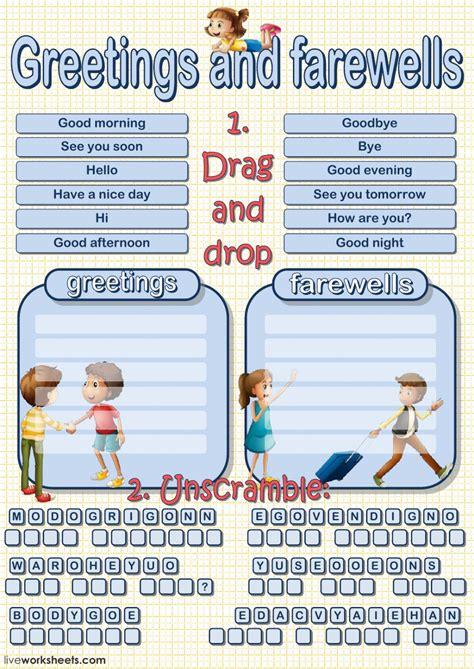 greetings worksheets for greetings and farewells interactive worksheet