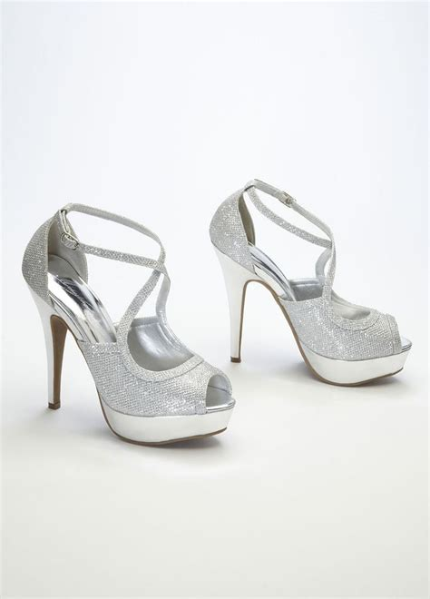 david s bridal wedding bridesmaid shoes silver peep toe