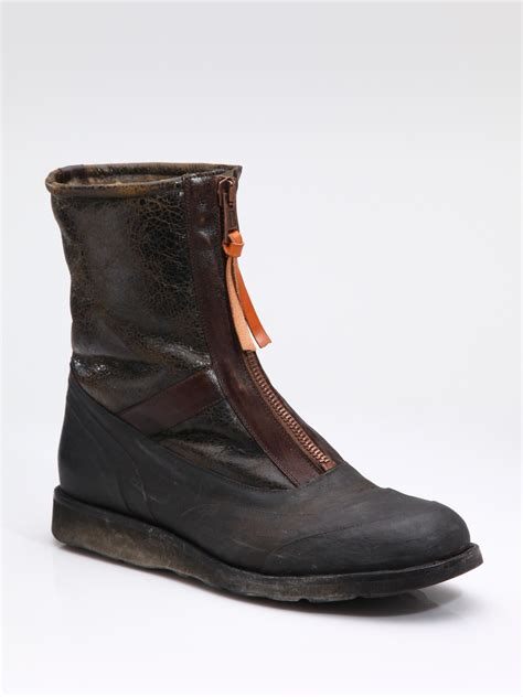 zip up boots maison margiela zip up ankle boots in brown for lyst