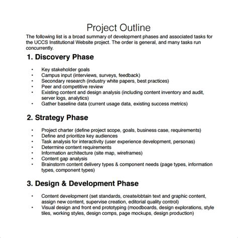 project plan outline template free 10 sle project outline templates to sle