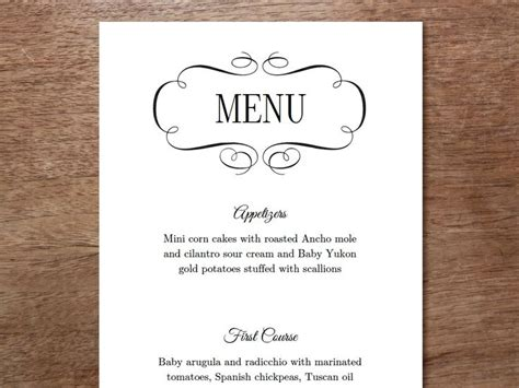 3 course menu template 45 best images about printable wedding menu templates on