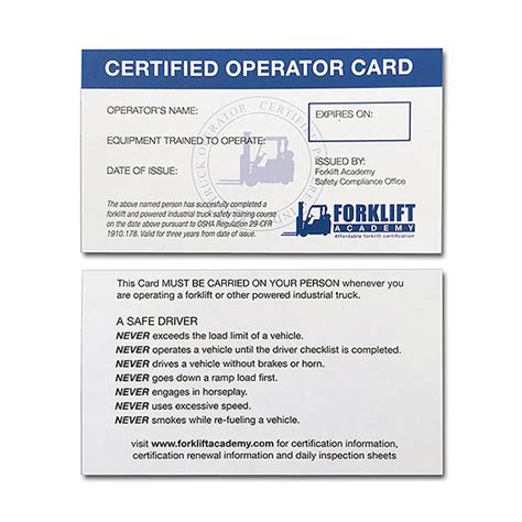 equipment operator certification card template forklift cards