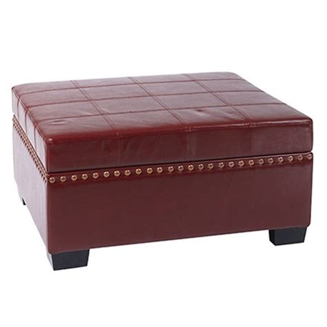 leather ottoman with storage and tray storage ottoman with tray in cherry eco leather dtr3630 cbd
