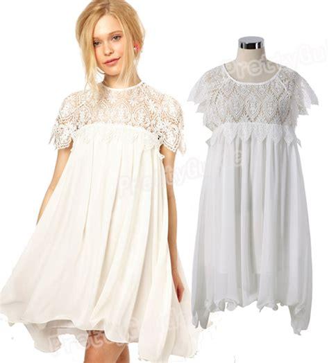 Swing Chiffon Dress swing white contrast crochet leaves lace dipped hem chiffon dress ebay