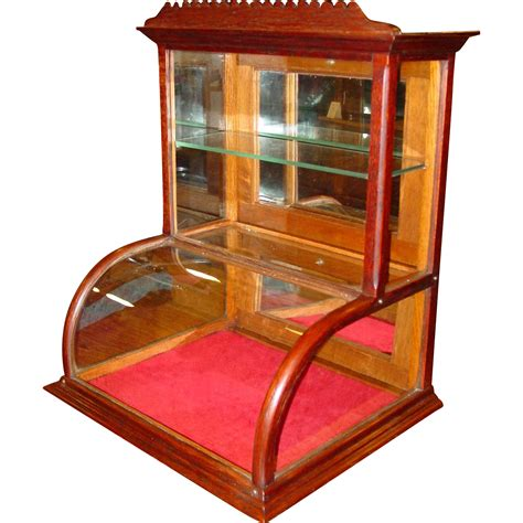 small glass display neat small oak curved glass counter display case from