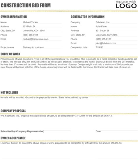 proposal format with exle download construction proposal template for free