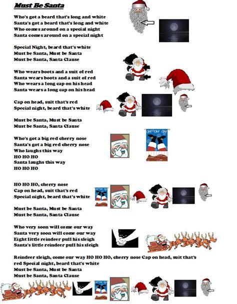 printable lyrics must be santa twin schools for learning must be santa christmas carol