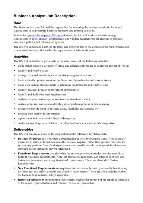 Job Responsibilities Resume by Business Analyst Job Description
