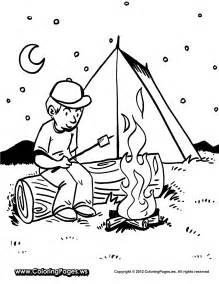 fun printable coloring sheet boy roasting marshmallows camp fire tent