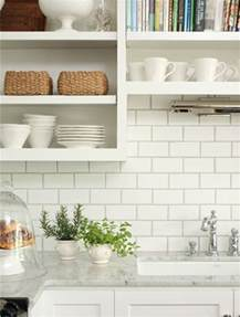 White Tile Backsplash Kitchen by White Subway Tile