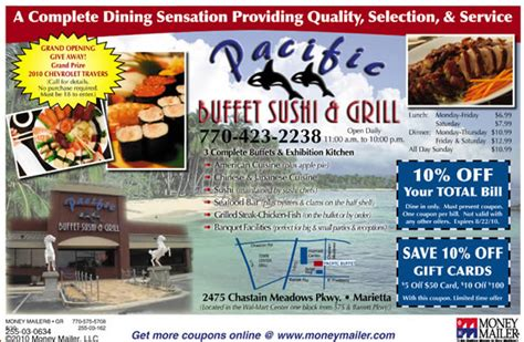 Pacific Buffet Sushi Grill Coupons Pacific Buffet Sushi Pacific Buffet Coupon