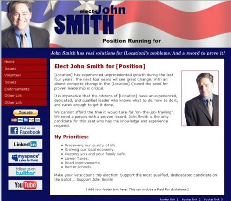 Caign Website Templates Downloadable Candidate Website Template