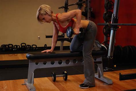 high bench two dumbbell rowing one arm dumbbell row exercise guide and video