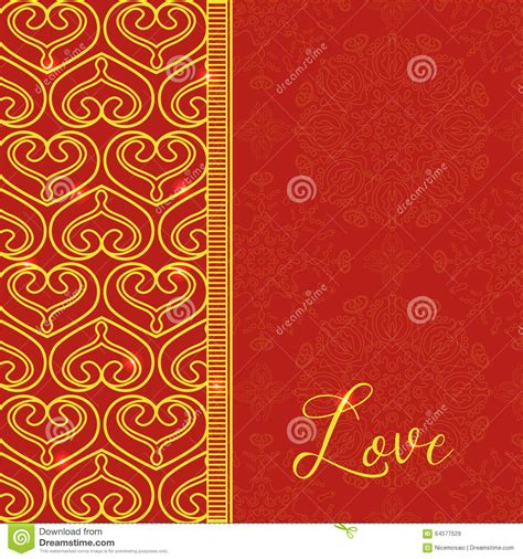 Decorative Hearts by Vector Card With Decorative Hearts Vector Golden