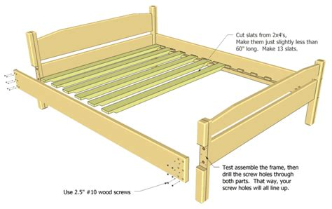 Wood Bed Frame Dimensions Size Bed Plan