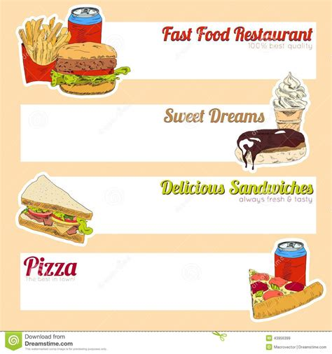 food banner template fast food menu banner stock vector image 43956399