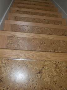 cork on stairs with wooden stair nose pieces for the