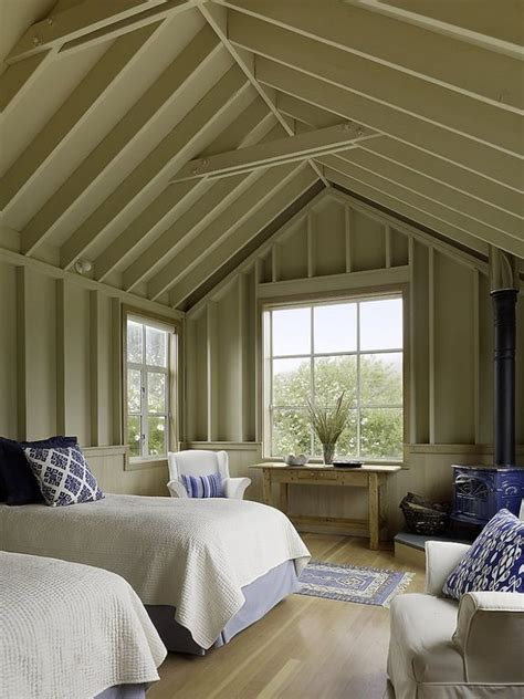 Cottage Bedroom Vaulted Ceiling Cottage Guest Bedroom With Side Table By Lang Lequang