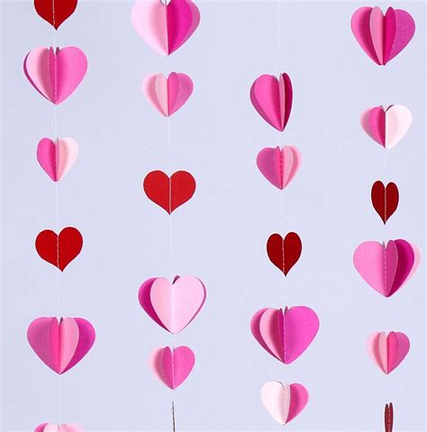 Handmade Paper Hearts - aliexpress buy 10 ft pink 3d paper garland