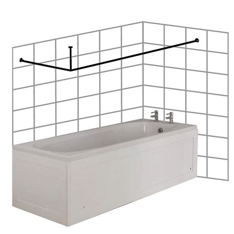 L Shaped Shower Baths croydex large l shaped to wall rod curtain rail and