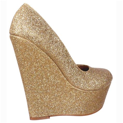 gold glitter shoes for shoekandi glitter wedge platform shoes gold glitter
