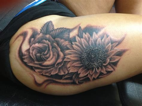 rose and sunflower tattoo and sunflower design of tattoosdesign of tattoos