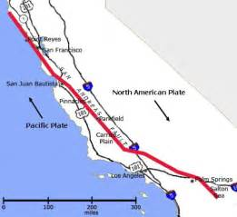 san andreas fault path map and information california