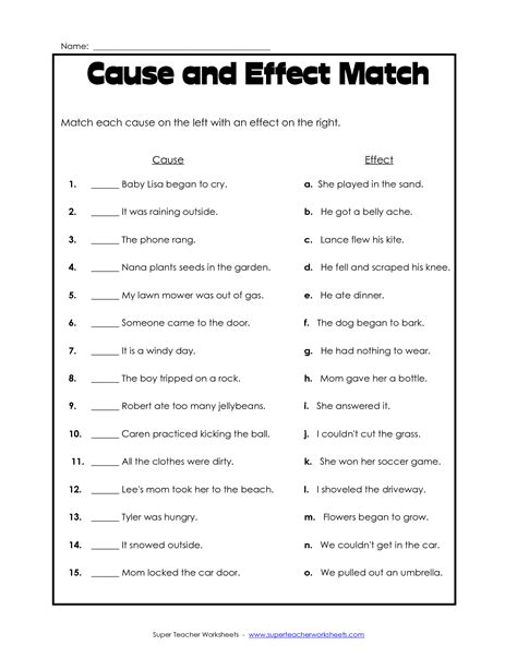 Cause And Effect Worksheets 2nd Grade by 17 Best Images Of Matching Worksheet Template Pdf