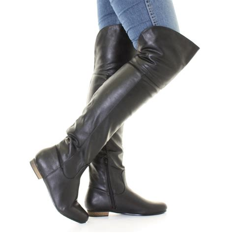 womens black leather style flat knee thigh high