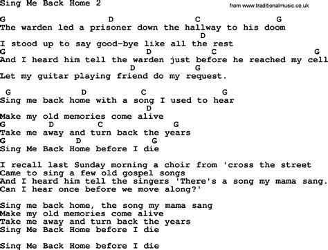 sing me back home 2 by merle haggard lyrics and chords