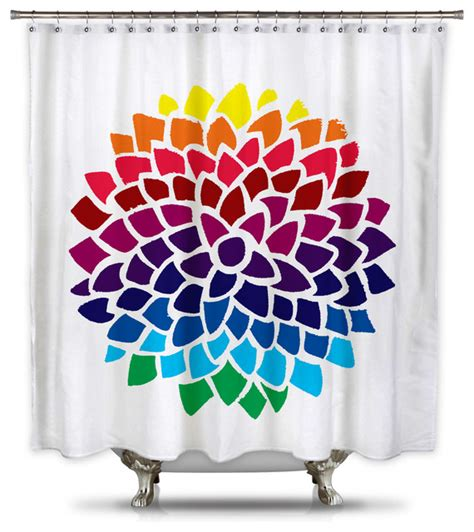 Standard Size Shower Curtain by Catherine Holcombe Rainbow Dahlia Fabric Shower Curtain