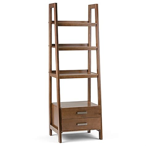 ladder bookcase with drawers buy simpli home sawhorse 72 inch ladder shelf bookcase