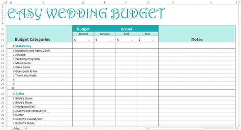 wedding budget excel template easy wedding budget excel template savvy spreadsheets