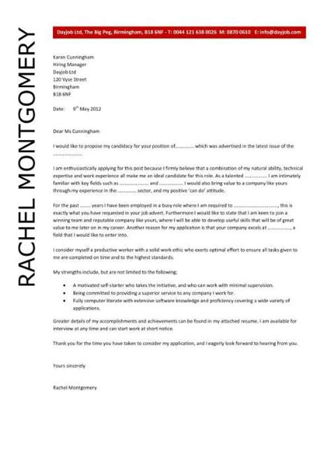 cover letter for a position exle of a cover letter for a application the