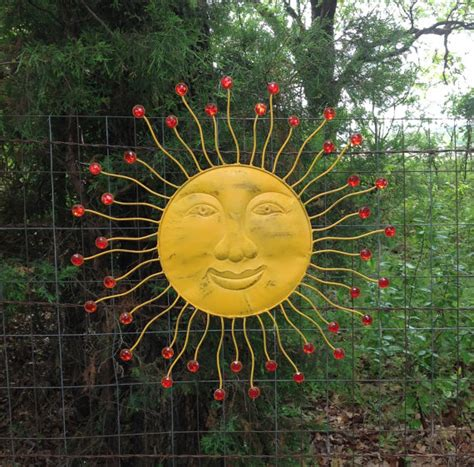Garden Sun Faces 24 Embellished Sun Fence Metal Yard