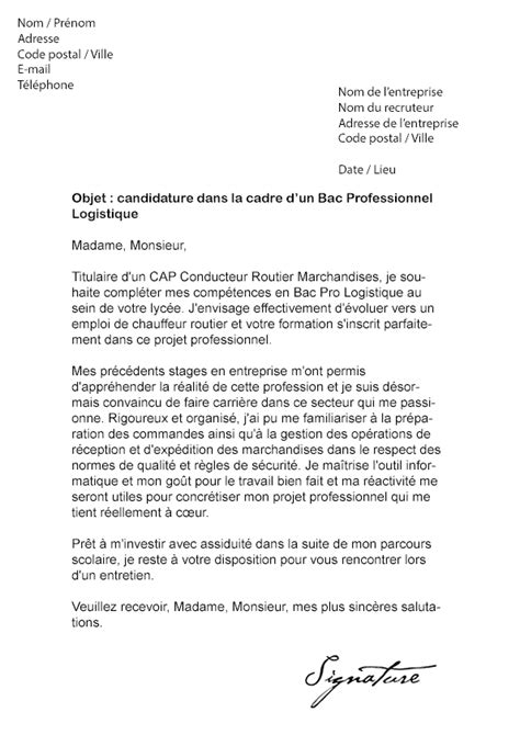 Lettre De Motivation Entreprise De Transport Modele Lettre De Motivation Stage Bac Pro Sen Document